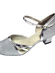 baratos -Mulheres Sapatos de Dança Moderna / Dança de Salão Glitter / Courino Sandália Salto Personalizado Personalizável Sapatos de Dança Marrom / Dourado / Azul Real / Interior / Espetáculo / Profissional