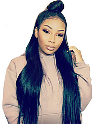 cheap -Silk Straight Indian 360 Lace Frontal Wigs with Baby Hair for Black Women Pre Plucked 180% Density 360 Virgin Hair Lace Wigs with Bleached Knots