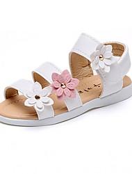 preiswerte -Mädchen Schuhe Kunstleder Sommer Herbst Sandalen Walking Applikationen Blume für Weiß Rosa