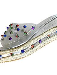 cheap -Women's Sandals Comfort Rubber Summer Outdoor Walking Comfort Wedge Heel Silver Black Under 1in
