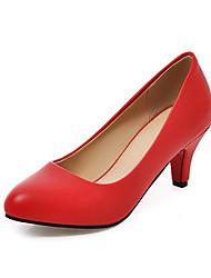 Women's Heels Basic Pump PU Spring/Fall Summer Wedding Office & Career Party & Evening Dress Basic Pump Kitten Heel Red Black White2in-2