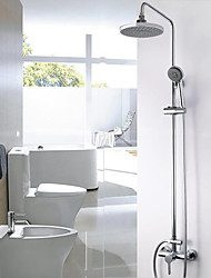 Shower System Rain Shower Wall Mount with  Ceramic Valve Two Handles Two HolesShower Faucet