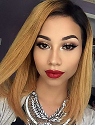 cheap -Remy Human Hair Glueless Lace Front / Lace Front Wig Straight Wig 130% Ombre Hair / Natural Hairline / African American Wig Ombre Women's Short / Medium Length Human Hair Lace Wig / 100% Hand Tied