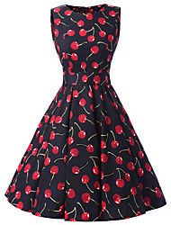 Women's Rockabilly Vintage Dress Black Cherry Round Neck Knee-length Sleeveless Cotton All Seasons Mid Rise