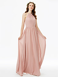 Sheath / Column Jewel Neck Floor Length Chiffon Bridesmaid Dress with Sash / Ribbon Pleats by LAN TING BRIDE®