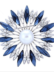 cheap -Women's Flower Rhinestone Brooches - Floral White / Dark Blue / Red Brooch For Wedding / Party / Special Occasion