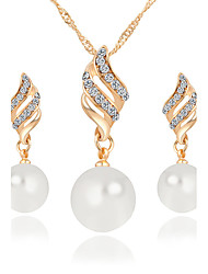 cheap -Women's Jewelry Set - Crystal, Imitation Pearl, Rhinestone Infinity Luxury, Dangling Style, Pearl Include Necklace / Earrings / Bridal Jewelry Sets Gold / Silver For Christmas Gifts / Wedding / Party