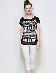 Ženy Geometriské vzory Ležérní Sexy Tričko-Léto Bavlna Polyester Spandex Kulatý Krátký rukáv Tenké
