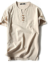 Men's Sports Casual/Daily Plus Size Simple Chinoiserie Summer T-shirt,Solid Round Neck Short Sleeves Cotton Linen Thin