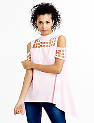 cheap -Women's Street chic T-shirt - Solid Colored, Cut Out Crew Neck