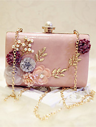 Women Bags All Seasons PU Evening Bag Flower for Event/Party Date Party & Evening White Black Pale Pink khaki