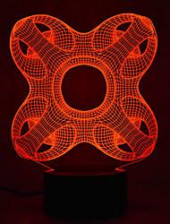 Недорогие -1шт 3D ночной свет Сенсорный 7-Color Работает от USB С портом USB