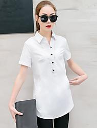 cheap -Women's Going out Work Casual Summer Shirt,Solid Shirt Collar Short Sleeves Cotton Medium