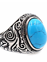 cheap -Men's Women's Ring Turquoise Basic Unique Design Costume Jewelry Stainless Steel Topaz Round Jewelry For Thank You Daily Casual