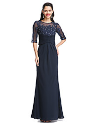 cheap -A-Line Scoop Neck Floor Length Chiffon Mother of the Bride Dress with Appliques by LAN TING BRIDE®