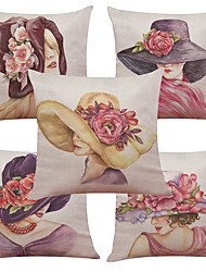 "cheap -Set of 5  Drop Ship Elegant Lady  Pattern  Linen Cushion Cover Home (18""*18"")"