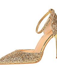preiswerte -Damen Schuhe Glitzer Frühling Sommer Knöchelriemen Pumps High Heels Stöckelabsatz Geschlossene Spitze Spitze Zehe Glitter Schnalle für