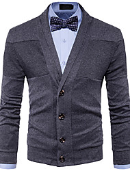 cheap -Men's Weekend Long Sleeves Wool Cardigan - Solid Colored V Neck
