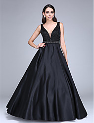 cheap -Ball Gown V-neck Floor Length Satin Formal Evening Dress with Beading Sash / Ribbon by TS Couture®