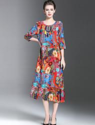 baratos -Mulheres Tamanhos Grandes Temática Asiática Solto Vestido - Fashion Estampado, Floral