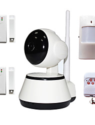 cheap -H.264 1.0MP HD 720P IP Camera P2P Pan IR Cut TF Card WiFi Network IP Security System With Wireless Alarm Detector