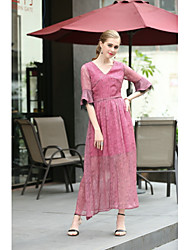 cheap -MMLJ Women's Daily Going out Cute A Line Dress,Solid V Neck Maxi Polyester/Rayon(T/R) Spring Summer Mid Rise Inelastic Medium