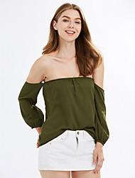 Χαμηλού Κόστους Καλοκαιρινές Αποχρώσεις-Γυναικεία T-shirt Αργίες / Εξόδου Κομψό στυλ street Μονόχρωμο Ώμοι Έξω Εξώπλατο / Άνοιξη / Φθινόπωρο
