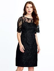 cheap -Women's Party Vintage A Line Lace Dress,Solid Round Neck Knee-length Short Sleeves Rayon Spring Mid Rise Micro-elastic Thin Medium