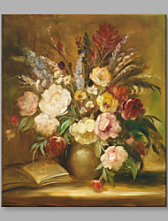 cheap -Hand-Painted Classical Beautiful Flowers and Vase Modern One Panel Canvas Oil Painting For Home Decoration