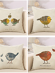 Set Of 4 American Rural Birds Printing Pillow Cover Classic Pillow Case 45*45Cm Sofa Cushion Cover