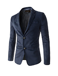 Men's Casual/Daily Street chic Spring/Fall Blazer,Solid V Neck Long Sleeve Short Organic Cotton