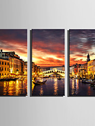 cheap -E-HOME Stretched Canvas Art The Lights Of Venice Decoration Painting Set Of 3
