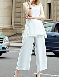 Feminino Blusa Calça Conjuntos Casual Moda de Rua Verão,Cor Única Decote Redondo Sem Manga