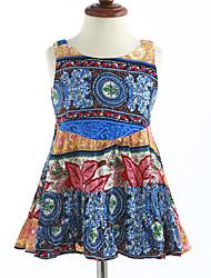 cheap -Girl's Lattice Dress, Cotton Summer Sleeveless Floral Blue