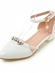 cheap -Women's Flats Leatherette PU Summer Fall Walking Buckle Block Heel White Blue Blushing Pink Flat