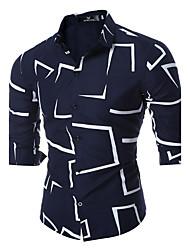 Недорогие -Муж. выходные Рубашка, Классический воротник Тонкие Геометрический принт