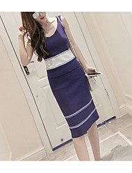 Women's Going out Casual/Daily Sexy Simple Spring Summer T-shirt Dress Suits,Striped U Neck Sleeveless Micro-elastic