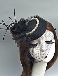 cheap -Tulle Fascinators / Hats / Birdcage Veils with Feather 1 Event / Party Headpiece