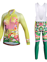 cheap -Miloto Women's Cycling Jersey with Bib Tights - Yellow Bike Clothing Suits Polyester Lycra