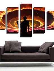 Impression d'Art Asiatique,Cinq Panneaux Format Horizontal Imprimé Décoration murale For Décoration d'intérieur