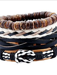 cheap -Simple And Retro Suit Diy Weave Hemp String Real Leather Cow Leather Punk Bracelet