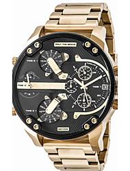 Недорогие -Для пары Спортивные часы Армейские часы Наручные часы Кварцевый Нержавеющая сталь Черный / Серебристый металл / Оранжевый Календарь Творчество С двумя часовыми поясами Аналоговый / # / # / Два года