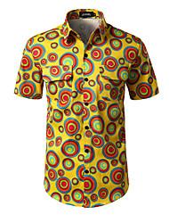 baratos -Homens Camisa Social Diário Trabalho Casual Geométrica Poliéster/Algodão Colarinho de Camisa Manga Curta