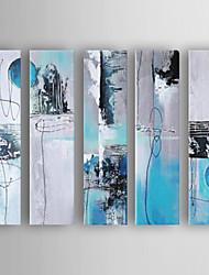 baratos -Pintados à mão Abstrato Horizontal,Nova chegada Moderno/Contemporâneo 5 Painéis Tela Pintura a Óleo For Decoração para casa
