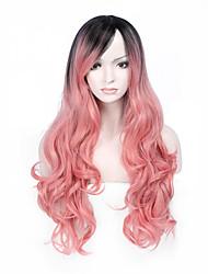 Ženy Dlouhý Růžová Vlnité Umělé vlasy Bez krytky Přírodní paruka paruky