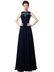 cheap -Sheath / Column Illusion Neckline Floor Length Chiffon Lace Formal Evening Dress with Ruching by Sarahbridal