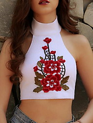 Women's Casual/Daily Sexy Spring Summer Tank Top,Embroidered Halter Sleeveless Acrylic Medium