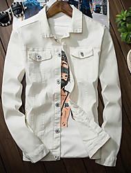 Недорогие -Для мужчин На каждый день Осень Джинсовая куртка Рубашечный воротник,Простой Однотонный Обычная Длинные рукава