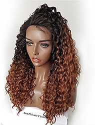 cheap -Ombre T1B/30 Brazilian Hair Glueless Lace Wigs Kinky Curly for Woman 180% Density Lace Front Human Hair Wigs Virgin Remy Hair Wig with Baby Hair