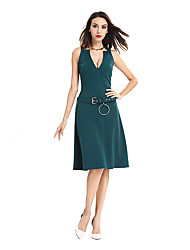 Womens Elegant V Neck Vintage Belt Casual Wear To Work Office Business Party Tunic Work Office Party Fit  A-Line Dress D0626